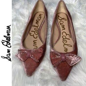 Sam Edelman Pink Studded Raisa Bow Velvet flats